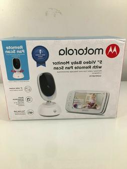 "Motorola 5"" Video Baby Monitor with Remote Pan Scan - White"