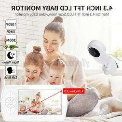 "Baby Video Monitor 1080P Wireless Security Camera 4.3"" LCD S"