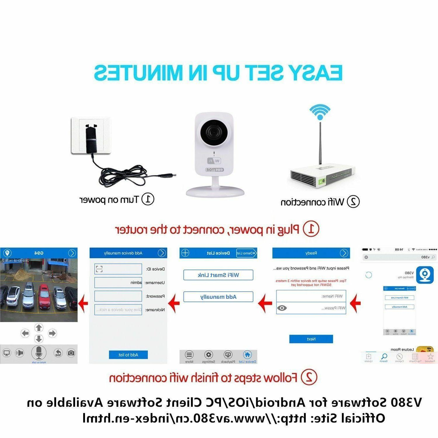 EWETON 1280x720P Wireless Monitor and Home Security Camera, Net